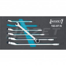 Набір ключів хромовані комбінованих с трещоткой HAZET (6 шт) (8-19 мм) (163-97/6)