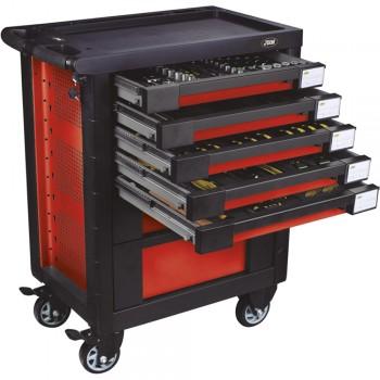Візок з інструментами на колесах JBM 134 предметів (470x770x970) (червона) (52825)